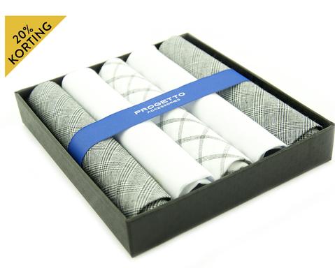 Hanky zakdoeken set | Grijs-wit