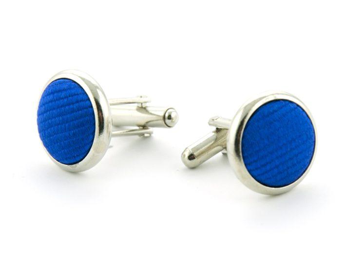 Manchetknopen zijde inleg koningsblauw