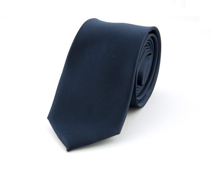 Marineblauwe effen Polyester Stropdas